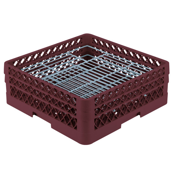 "Vollrath PM4806-2 Traex® Plate Crate Burgundy 48 Compartment Plate Rack - Holds 5"" to 6"" Plates"