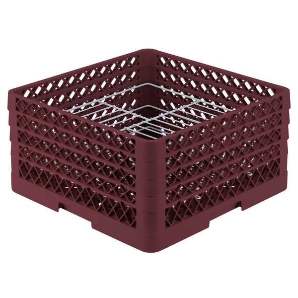 """Vollrath PM2110-4 Traex® Plate Crate Burgundy 21 Compartment Plate Rack - Holds 8 3/4"""" to 9 3/16"""" Plates"""
