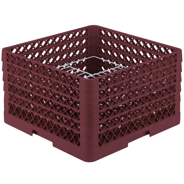 "Vollrath PM2011-5 Traex® Plate Crate Burgundy 20 Compartment Plate Rack - Holds 10"" to 10 3/4"" Plates"
