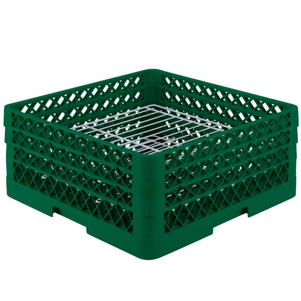 "Vollrath PM3208-3 Traex® Plate Crate Green 32 Compartment Plate Rack - Holds 4 3/4"" to 7 5/8"" Plates"