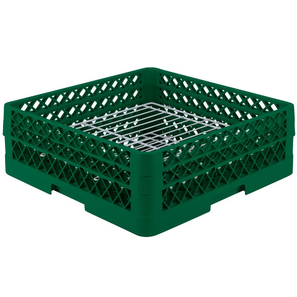 """Vollrath PM3208-2 Traex® Plate Crate Green 32 Compartment Plate Rack - Holds 4 3/4"""" to 6 1/4"""" Plates"""
