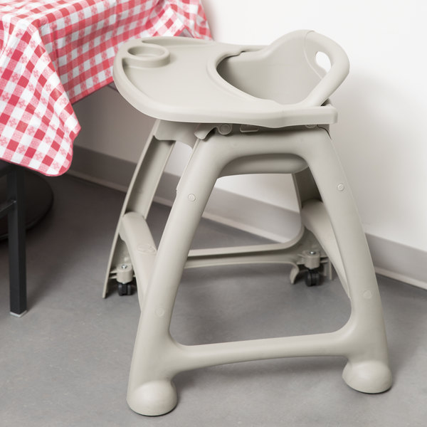 Lancaster Table U0026 Seating Ready To Assemble Gray Stackable Restaurant High  Chair With Tray And Wheels