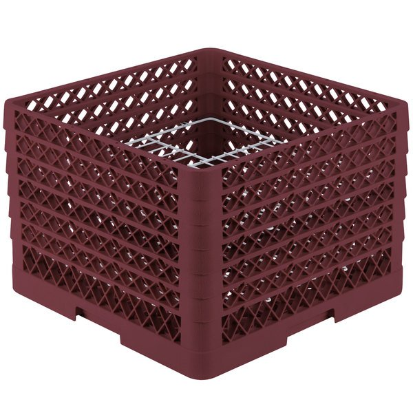 "Vollrath PM2011-6 Traex® Plate Crate Burgundy 20 Compartment Plate Rack - Holds 10 3/4"" to 11"" Plates"