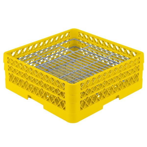 "Vollrath PM4806-2 Traex® Plate Crate Yellow 48 Compartment Plate Rack - Holds 5"" to 6"" Plates"