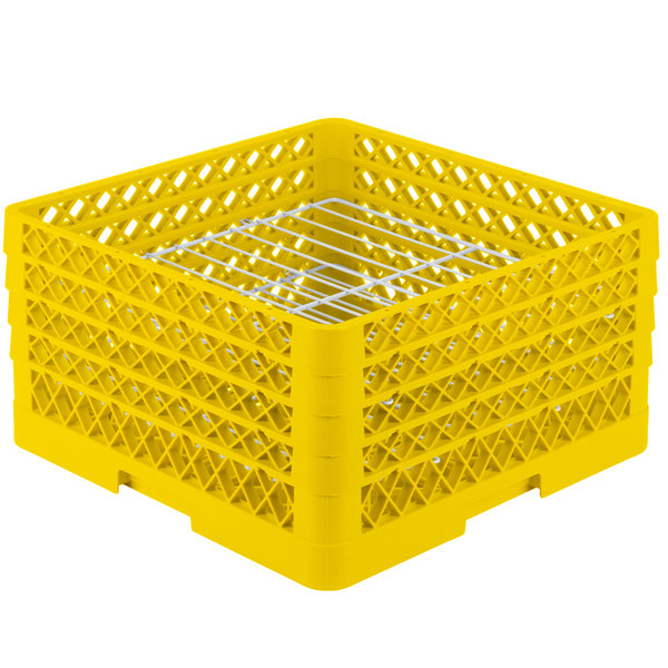 """Vollrath PM2209-3 Traex® Plate Crate Yellow 22 Compartment Plate Rack - Holds 7"""" to 7 7/8"""" Plates Main Image 1"""