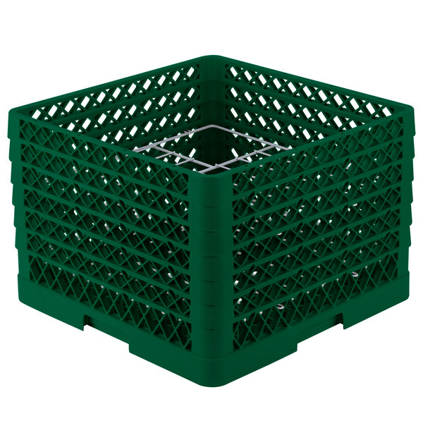 "Vollrath PM1211-6 Traex® Plate Crate Green 12 Compartment Plate Rack - Holds 10 3/4"" to 11 3/16"" Plates"