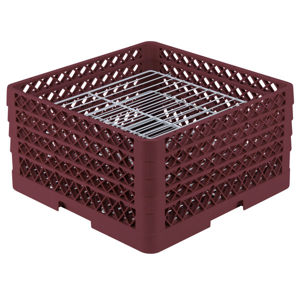 """Vollrath PM3008-4 Traex® Plate Crate Burgundy 30 Compartment Plate Rack - Holds 8"""" to 8 3/8"""" Plates Main Image 1"""