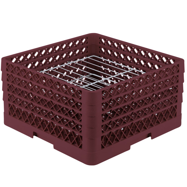 """Vollrath PM2209-4 Traex® Plate Crate Burgundy 22 Compartment Plate Rack - Holds 7"""" to 8 3/4"""" Plates"""