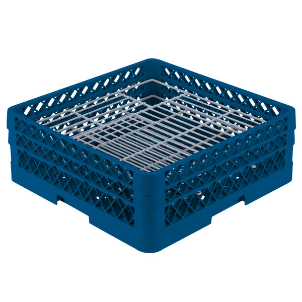 """Vollrath PM4806-2 Traex® Plate Crate Royal Blue 48 Compartment Plate Rack - Holds 5"""" to 6"""" Plates"""