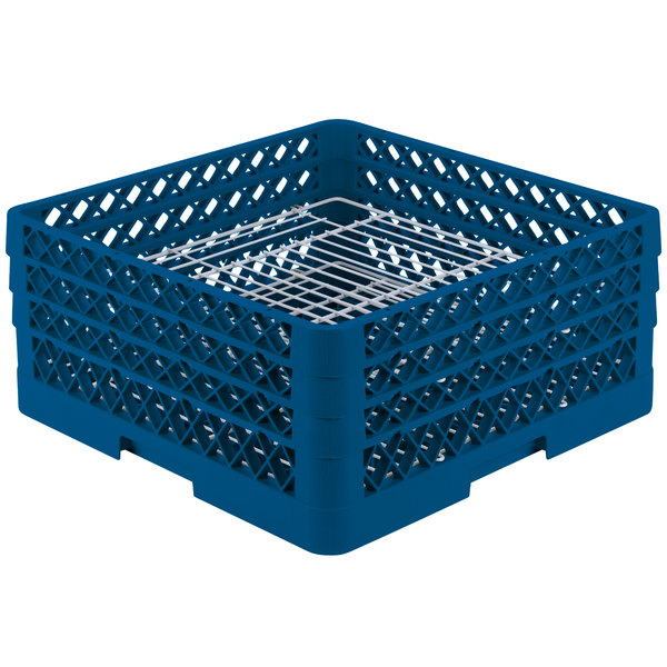 "Vollrath PM4407-3 Traex® Plate Crate Royal Blue 44 Compartment Plate Rack - Holds 6"" to 7"" Plates"