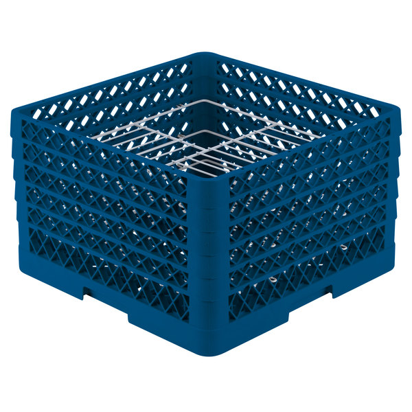 "Vollrath PM2110-5 Traex® Plate Crate Royal Blue 21 Compartment Plate Rack - Holds 9 3/16"" to 10"" Plates"
