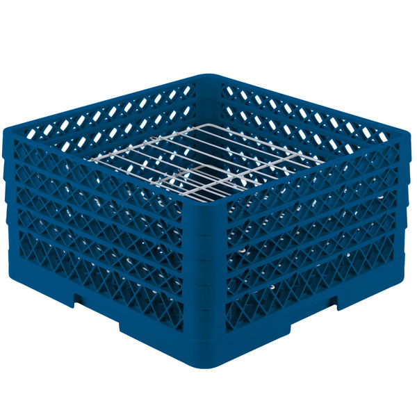 "Vollrath PM2209-4 Traex® Plate Crate Royal Blue 22 Compartment Plate Rack - Holds 7"" to 8 3/4"" Plates"
