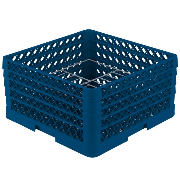 """Vollrath PM1510-4 Traex® Plate Crate Royal Blue 15 Compartment Plate Rack - Holds 8 3/4"""" to 9 3/16"""" Plates"""