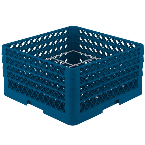 """Vollrath PM1211-4 Traex® Plate Crate Royal Blue 12 Compartment Plate Rack - Holds 8 3/4"""" to 9 3/16"""" Plates"""