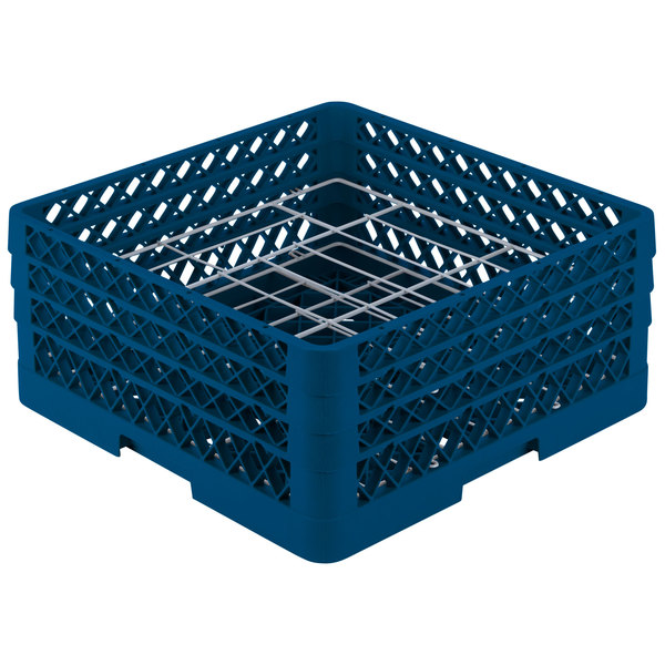 """Vollrath PM2006-3 Traex® Plate Crate Royal Blue 20 Compartment Plate Rack - Holds 4 3/4"""" to 6 1/2"""" Plates"""