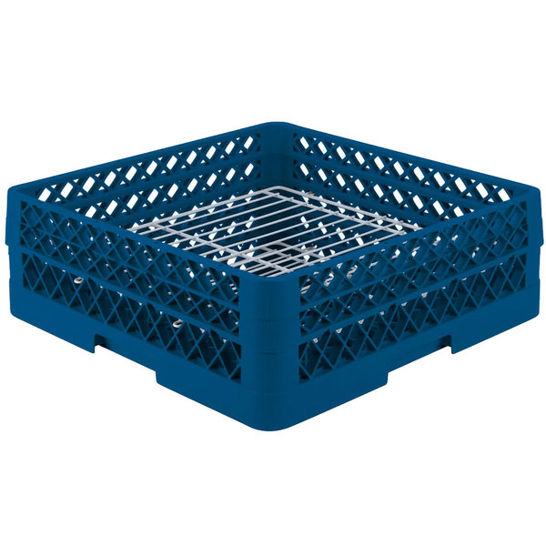 "Vollrath PM3208-2 Traex® Plate Crate Royal Blue 32 Compartment Plate Rack - Holds 4 3/4"" to 6 1/4"" Plates"