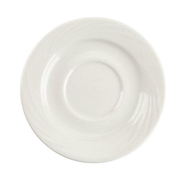 "CAC GAD-2 Garden State 5 1/2"" Bone White Porcelain Saucer - 36/Case Main Image 1"