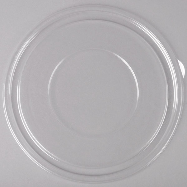 Sabert 51080A50 FreshPack Clear Flat Round Lid for Shallow 64 oz. and Round 80 oz. Bowls - 50/Case Main Image 1