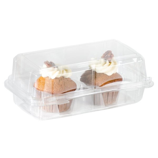 2 Compartment Clear Hinged Cupcake Muffin Container 24Pack