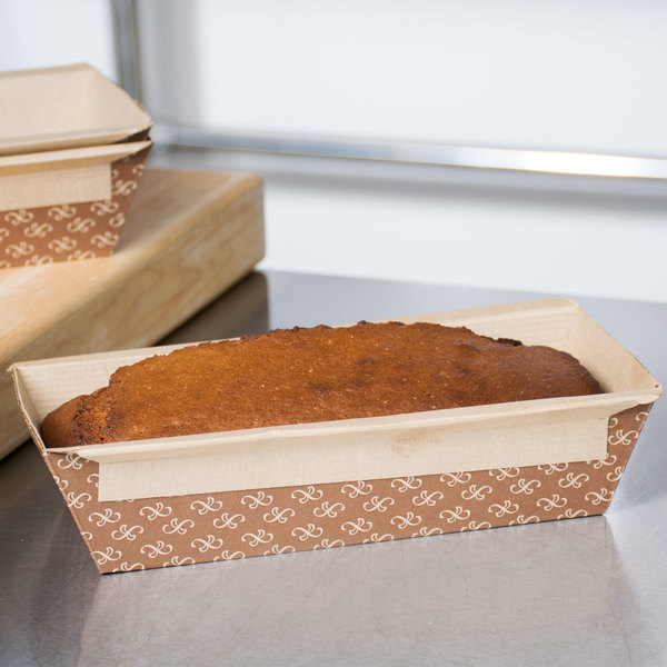Solut 31906 1 lb. Bake and Show Corrugated Kraft Paper Bread Loaf Pan - 10/Pack
