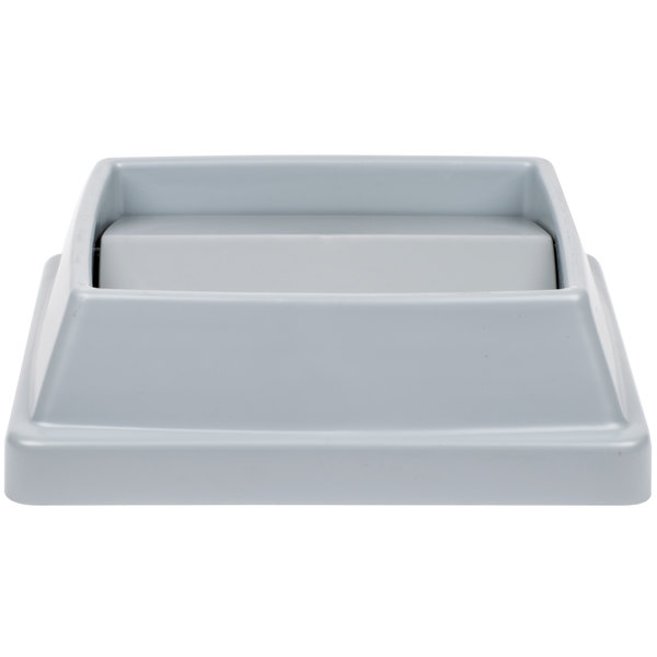 """Continental T1700GY 16"""" Gray Square Tip Top Lid for 25 and 32 Gallon Swingline Containers"""