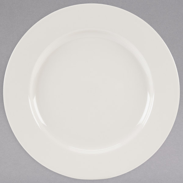 "Homer Laughlin 41000 Durathin 11 1/8"" Ivory (American White) China Plate - 12/Case"
