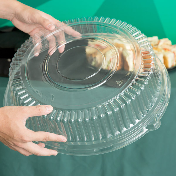 "Visions 16"" Clear PET Plastic Round Catering Tray High Dome Lid - 25/Case"