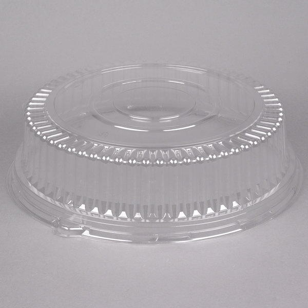 Visions 16 inch Clear PET Plastic Round Catering Tray High Dome Lid - 25/Case