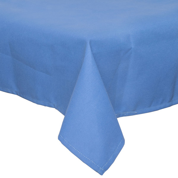 "64"" x 120"" Light Blue 100% Polyester Hemmed Cloth Table Cover"