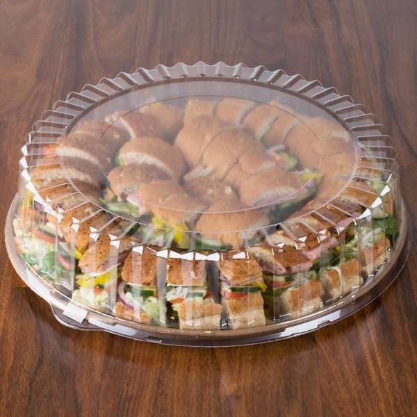 "Solut 4016 16"" Clear Round High Dome Catering / Deli Tray Lid - 25/Case"