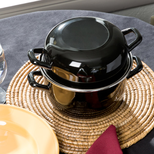 Matfer Bourgeat 070973 2.5 Qt. Black Enameled Steel Mussel Pot with Lid Main Image 8