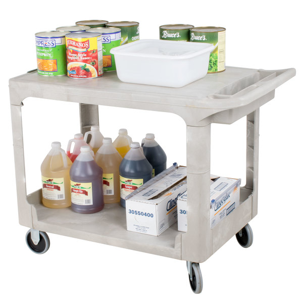 Rubbermaid FG452589BEIG Beige Medium Flat HD Two Shelf Heavy Duty Utility Cart with Extended Handle Main Image 3