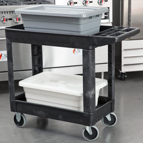 Rubbermaid FG450089BLA Black 500 lb. Two Shelf Utility Cart 18 x 39 x 33 1/4