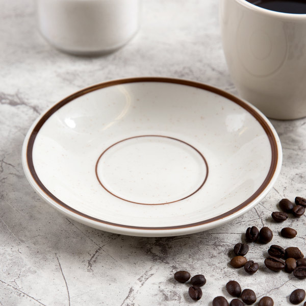"""6"""" Brown Speckle Narrow Rim China Saucer - 36/Case"""