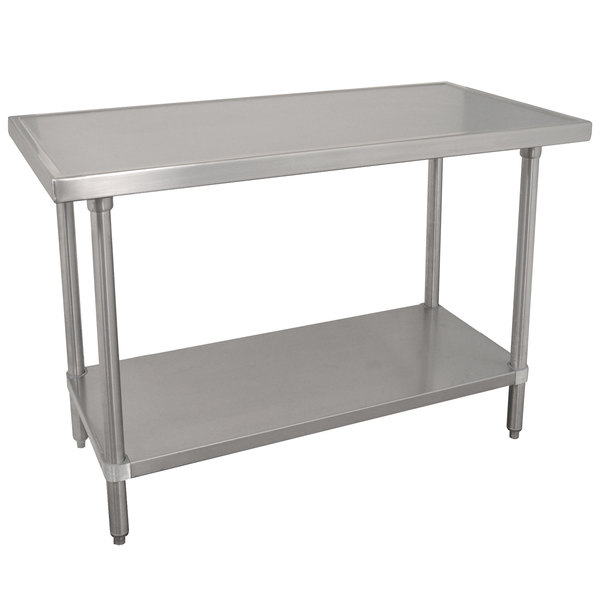 """Advance Tabco VLG-244 24"""" x 48"""" 14 Gauge Stainless Steel Work Table with Galvanized Undershelf"""