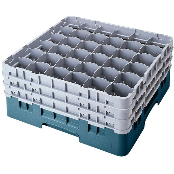 "Cambro 36S900414 Teal Camrack Customizable 36 Compartment 9 3/8"" Glass Rack Main Image 1"