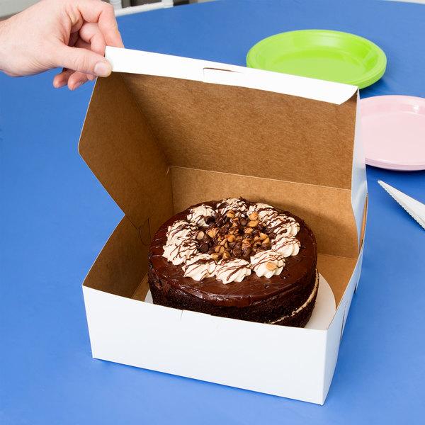 "Southern Champion 973 10"" x 10"" x 4"" White Cake / Bakery Box - 10/Pack"