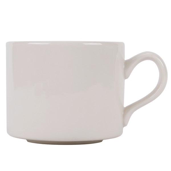 CAC MUM-10 10 oz. Ivory (American White) Rolled Edge Stackable China Cup - 36/Case Main Image 1
