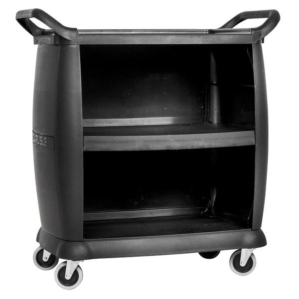 Carlisle CC2036P03 3 Shelf Black Utility / Bus Cart with Panels - 300 lb. Capacity Main Image 1