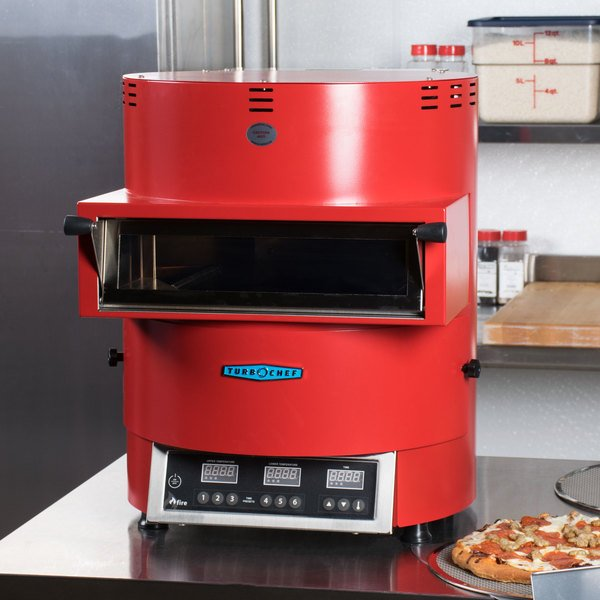 Turbochef red high speed pizza oven on a countertop