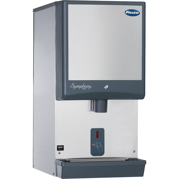 Follett 25CI425W-SI Symphony Countertop Water Cooled Ice Maker / Dispenser - 25 lb. Main Image 1