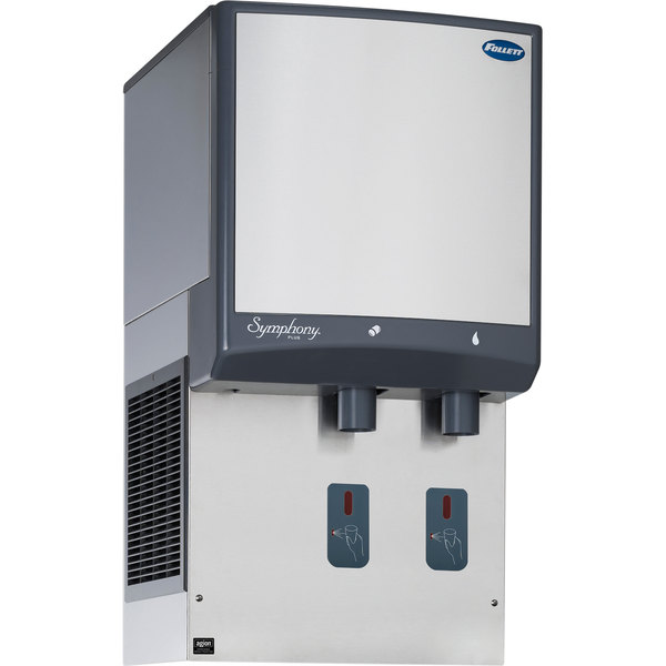 Follett 12HI425A-S0-DP 12 Series Air Cooled Wall Mount Ice and Water Dispenser with Drain Pan - 12 lb. Storage Main Image 1