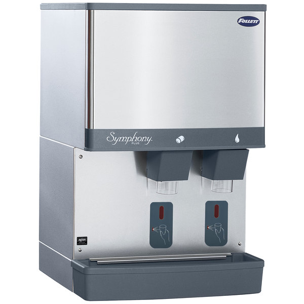 Follett 50CI425W-S Symphony Countertop Water Cooled Ice Maker and Water Dispenser - 50 lb.