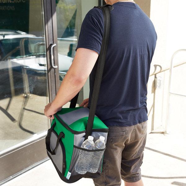 "Choice Insulated Leak Proof Cooler Bag / Soft Cooler, Green 12"" x 9"" x 11 1/2"", with Adjustable Shoulder Strap"