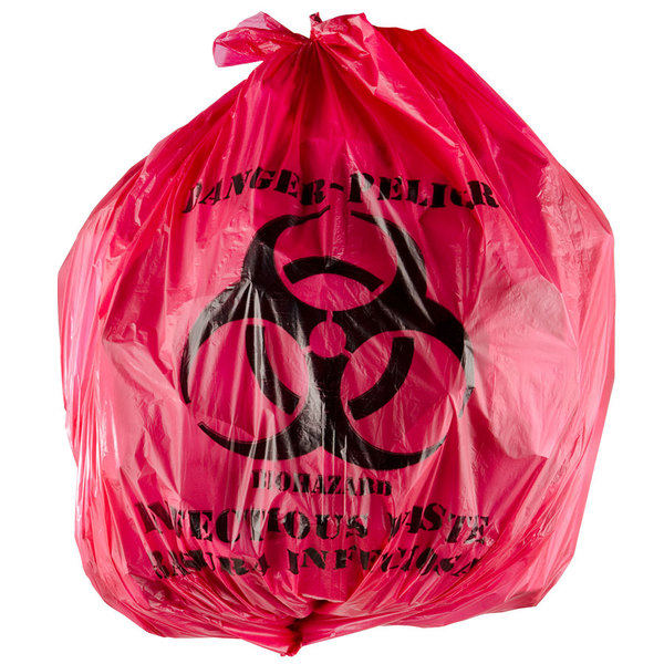 10 Gallon 24 X Red Isolation Infectious Waste Bag Biohazard High Density 12 Microns