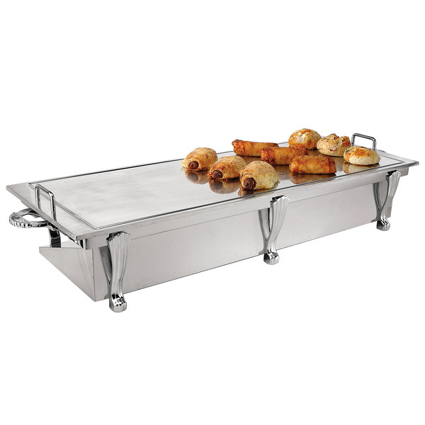 "Eastern Tabletop 3269A Heavy Duty 38"" x 13"" Stainless Steel Grill Stand with Removable Griddle Top"
