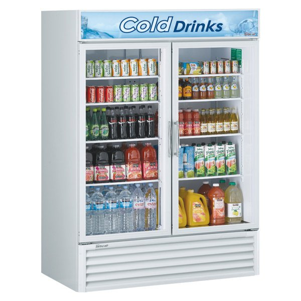 "Turbo Air TGM-50RS-N 56"" White Two Glass Door Refrigerated Merchandiser Main Image 1"