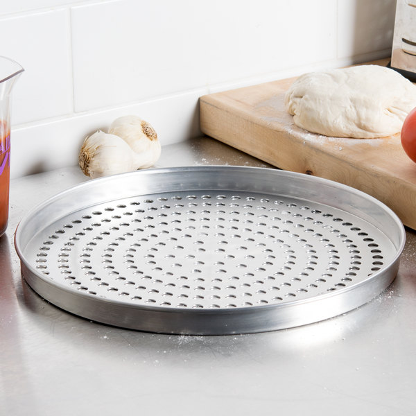"American Metalcraft SPA4013 13"" x 1"" Super Perforated Standard Weight Aluminum Straight Sided Pizza Pan"