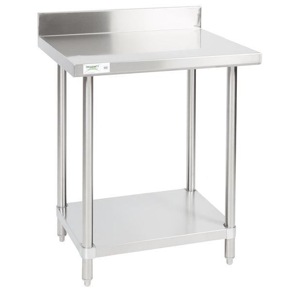 "Regency 24"" x 30"" 16-Gauge Stainless Steel Commercial Work Table with 4"" Backsplash and Undershelf"