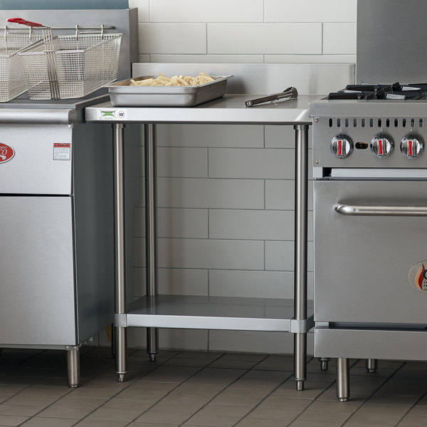 "Regency 24"" x 30"" 16-Gauge Stainless Steel Commercial Work Table with 4"" Backsplash and Undershelf Main Image 4"